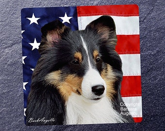 Sheltie Coasters, Sheltie Patriotic Coasters, Sheltie Gift, Sheltie Art, Sheltie Tricolor Gift, Sheltie Tricolor Coasters, Shetland Sheepdog