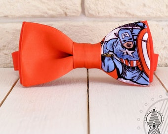 Captain America Bow Tie, Comic pattern, Geeks bowtie, Red bowtie, Superheroes wedding