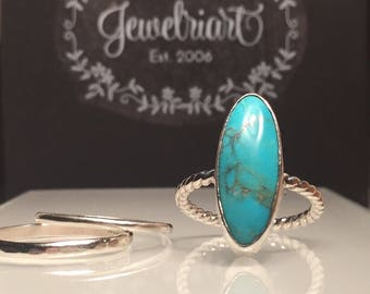 Turquoise Ring./Natural Turquoise Silver Ring/Turquoise Long Oval Silver Ring/Turquoise Statement Ring/Girlfriend Gift./Free US Shipping.