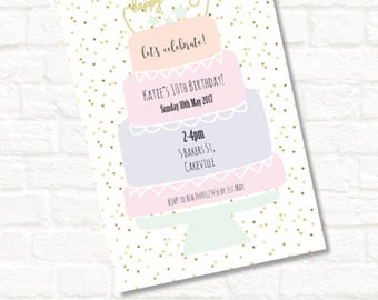 4x6 teenage 1st or any age birthday cake party birthday invitation jpeg download digital file