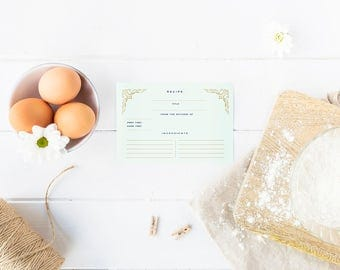 Cooking recipe etsy recipe cards mint green gold navy recipe card set recipe forumfinder Choice Image