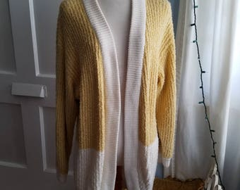 Snuggle Up, Buttercup. Yellow and Oatmeal 3 Quarter Length Sweater.
