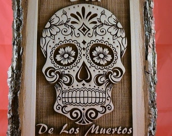 Day of the Dead – Dia De Los Muertos  - Sugar Skull - Wooden Plaque with Bark