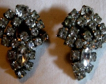 Vintage Rhinestone Clip-On Earrings