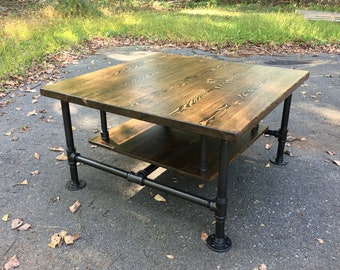 Reclaimed Wood Industrial Pipe Coffee Table with Shelf