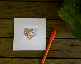 Hardanger heart embroidered greeting card, for Mothers' Day, weddings, engagements, etc. Blank inside for your personal message