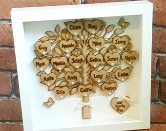 Family Tree Frame, Handmade, Personalised Family Tree Gift, Handmade Family Tree, Personalised, Family Tree Box Framed, Mothers Day Gift