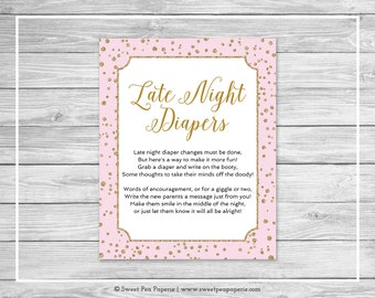 Pink and Gold Baby Shower Late Night Diapers Sign - Printable Baby Shower Late Night Diapers - Pink and Gold Baby Shower - SP145