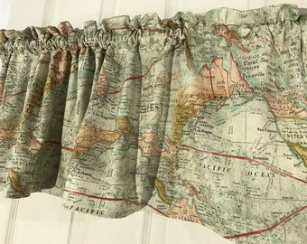 world map  curtain valance