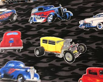 Antique hot rod cars on black background curtain valance