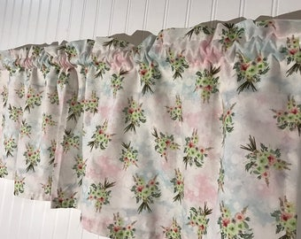 Rustic flowers pink and blue curtain valance
