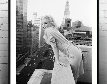 Marilyn Monroe on a Balcony -  Gift, Home Decor, photography, american icon, actress, Vintage poster, print,