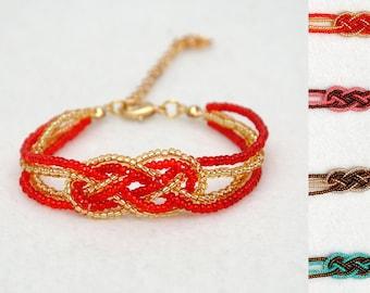 Beaded Knot Bracelet Sailor Knot bracelet Infinity Jewelry Beaded Bracelet Knotted Jewelry Celtic Knot Bracelet Womens Gift Ideas for Her