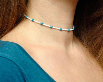Girlfriend Gift women Turquoise Jewelry Beaded choker necklace Minimal Beaded Necklace Simple choker Glass bead Necklace Delicate Choker