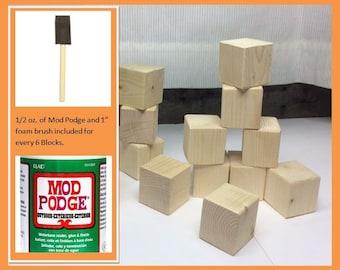 "Square Wood Blocks, Set of Six 1.5"" Sq. Blocks with Sealer, Alphabet Blocks, Baby Shower & Party Craft Blocks, Building Blocks, Teachers Aid"