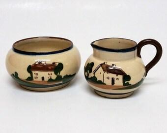Vintage Torquay Motto Ware England Cream and Sugar set