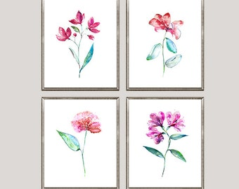Watercolor flowers art print, floral wall decor, flower gift, wedding gift, gift for her, living room decor, set of 4 prints - N49A/52A