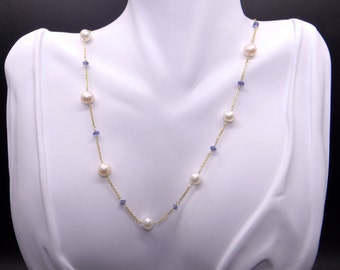 14k Yellow Gold Round Pearl Sapphire By Yard Link Chain Tennis Necklace 16 inch