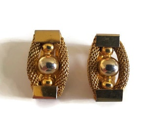 Gold metal clip-on earrings rope and ball oblong design