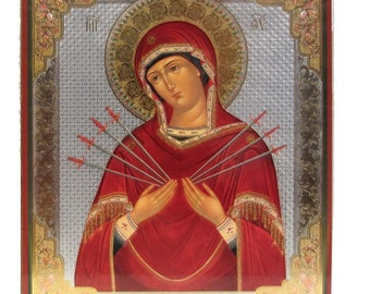 Holly Virgin With Seven Arrows russian icon - #78bb