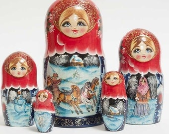 Nesting dolls Russian Russian Winter Troyka - #99bb