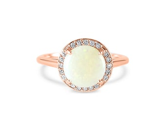 14k Rose Gold round 8mm Opal engagement ring and pave diamond Halo- Halo gemstone  engagement ring round - Opal engagement ring - Opal ring