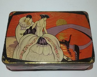 Box Tin art deco Pierrot and Columbine / Antique french art deco tin box/BN antique tin box