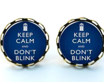 Keep Calm and Don't Blink Doctor Who Quote Earrings Stud