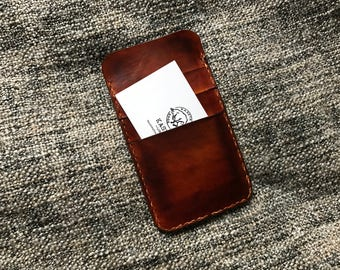 iPhone 6 6s 7 leather pouch, card holder 'Old Brown'