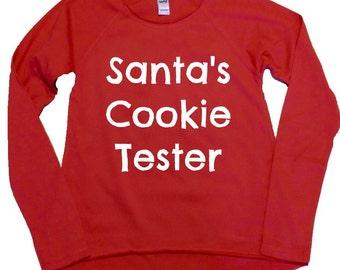 Santa's Cookie Tester, Girl's high-low, long sleeve shirt