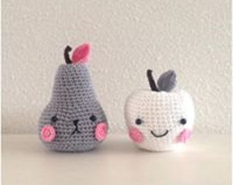 Crochet Apple and pear, handmade baby shower gift