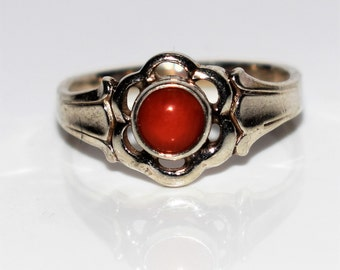 Tiny Coral Flower 835 Silver Ring size 2 ~ D