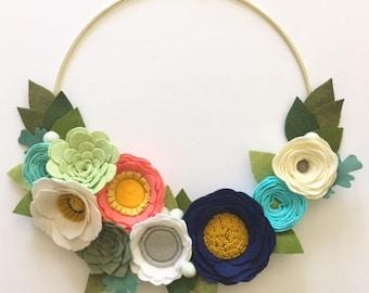 MODERN WREATH // Felt Flower Wreath // Floral Wreath // Gold Hoop Wreath // Roses + Succulents // Coral + Navy + Aqua + Gray