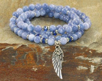108 Angelite Mala Beads, AA Grade, Throat Chakra Crystals, Spiritual Guidance-Connect with Guardian Angels-Dreamwork & Lucid Dreaming