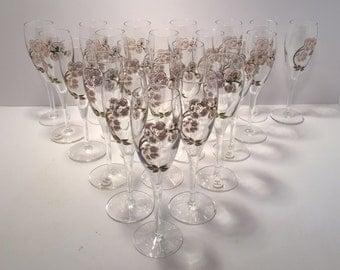 Vintage Perrier Jouet set of 22 champagne flutes / glasses