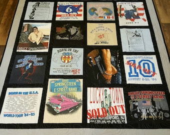 Custom T-shirt quilt. Tshirt quilt made from 9-49 tees. Tee shirt quilt, with free embroidered label. Memory t shirt quilts. Deposit only.