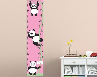 Personalized Growth Chart for Girls - Kids Height Chart - Child Growth Chart - Hanging Pandas Design
