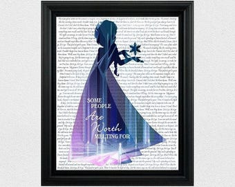 Disney Princess Silhouette Elsa Silhouette Frozen Silhouette Let It Go Frozen Quote Printable 8x10 Wall Art Decor Girl Room Instant Download
