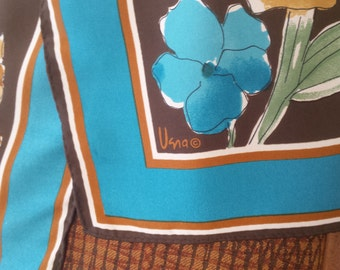 Vera Scarf Blue and Brown Floral Print Excellent Condition Designer Signed