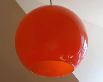 Big and big light shadow ball orange 1970 s 30 cm of diameter-Rare suspension seventies/illuminati10