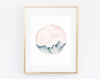 Watercolor - Mountains - Inspirational - Artwork Print - Multiple Sizes