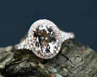 9x7mm/1.60 Carats Oval Cut Morganite 14k Rose Gold Diamond Double Halo Engagement Ring Promise Ring Anniversary Ring
