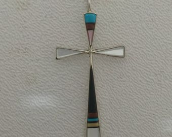 Native American Navajo Gemstone & Sterling Silver  Cross