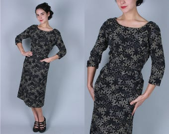 Vintage 1950s Dress | Black Sheath Dress with Grey and Cream Floral Embroidery | Large