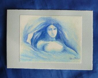 Wishing card Blue-female figure print hand retouched gift idea