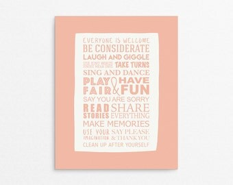 Rules Print, Playroom Poster, Kids Room Art, Playroom Wall Art, Kids Posters, Coral Print, Playroom Art, Playroom Print, Sign For Kids Room