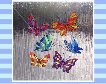 Butterfly window clings, Butterflies set for glass & window areas, reusable faux stained glass effect decal, static cling suncatcher decals