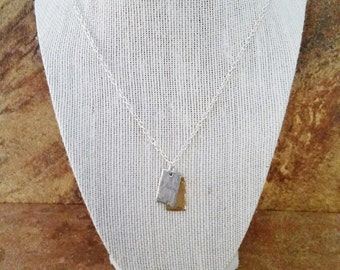 2 Tone Rustic Pewter Charm Necklace. 2 Small Gold and Silver Pewter Charms. Boho Style. 20 inch Necklace Chain. Tribal. Minimalist.