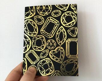Gold Foil Letterpress Gemstone Design Card, engagement, wedding, thank you, elegant stationery