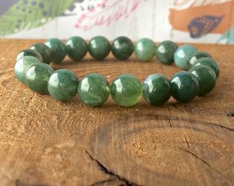 8mm Green Moss Agate Stacking Bracelet, A Grade, Yoga Gifts, Opening the Heart Chakra-Abundance & Prosperity-Connection with Nature